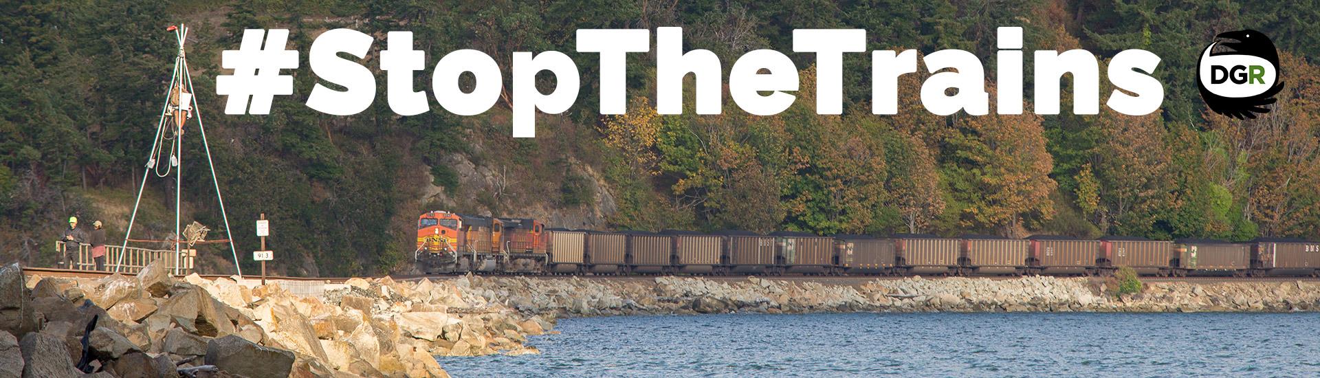 #StopTheTrains blockade direct action Banner